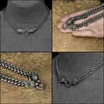 Double Strand Viking Braid Necklace w/Wolf Heads by GoodSpiritWolf