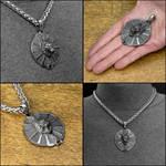 Wolf Spirit Warrior Shield Medallion on Necklace by GoodSpiritWolf