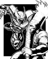 INKTOBER DAY 1 - SHADOWHAWK vs FLAMING CARROT by boxofficeartist