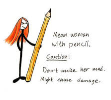 Mean Woman With Pencil by Sliven