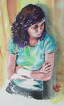 watercolour painting of my daughter by psycopix