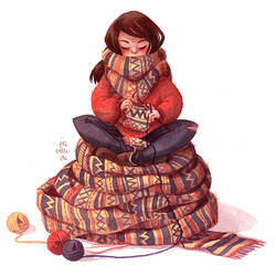 Knitting Girl by Iraville