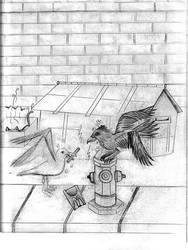 gull and raven mcdo fries by Kerropi