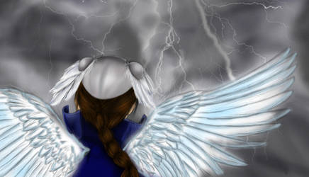 angel from back looking trough the storm by Kerropi