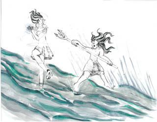 Ursula vs Posseidon Aquarelle by Kerropi