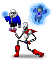 Sans, Papyrus, and Frisk by Kriztian-Draws