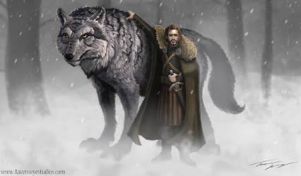 Robb Stark and Grey Wind Game of thrones by RavenseyeTravisLacey