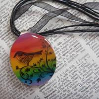 Rainbow bird resin necklace by JacDesigns