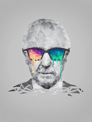 Albert Hofmann - Psychedelic Polygon Portrait by mrsbadbugs