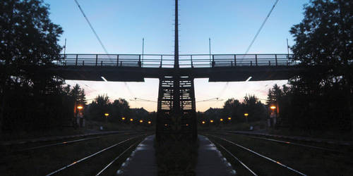 mirrored railway station by myfonj