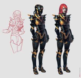 anti-gravity battle suit by Aberiu