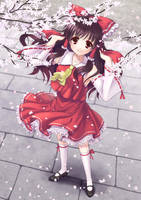 Reimu with Cherry blossom by 0myake0