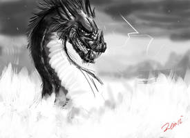 Dragon of Havoc Sketch 7 by WolfSplicer