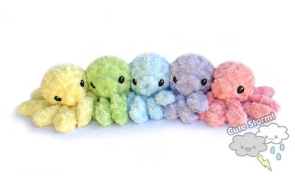 Rainbow Octopus plushies by The-Cute-Storm