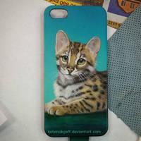 Bengal kitten case airbrush by kotenokgaff