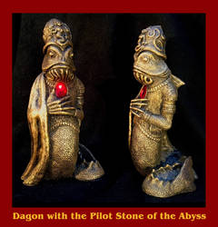 Dagon with the Pilot Stone of the Abyss - Cthulhu by zombiequadrille