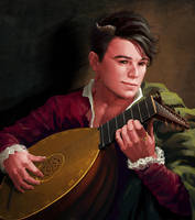 Tiefling bard (red skin) by Feael