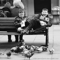 Feeding Pigeons, Feet Up by Earth-Hart