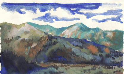 Watercolor landscape by AlexIlieva