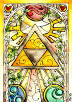 Stained Glass: Triforce by Scarlett-Winter
