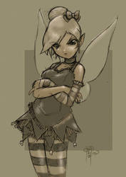 Tinker Bell Gothic Loli Sketch by sykoeent
