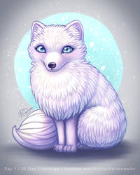 Arctic Fox - Day 1 of 30 day challenge by Hidden-Rainbows