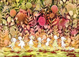 Fae Children in the Night Garden by golden-quince