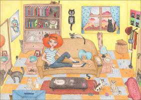 Crazy cat lady by stardixa