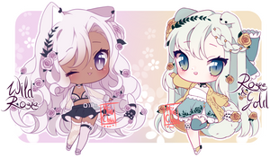 [CLOSED] ADOPT SET PRICE - Roses + Animals by MiiaChuu