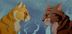 Lionblaze and Tigerstar- colored by AnimeLionessMika
