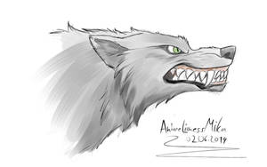 angry wolf sketch by AnimeLionessMika
