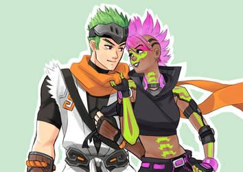 Sombra and Genji by anakareninart