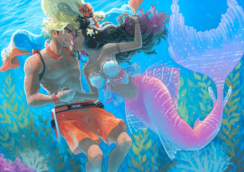 Good day lady mermaid!-commission for Anobouzu by anakareninart