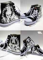 Skull and wings chucks by Bobsmade