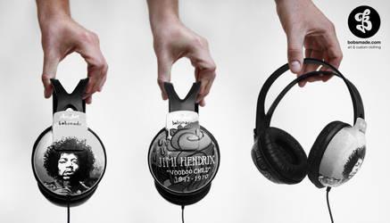 Jimi Hendrix Headphones by Bobsmade