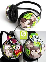 Owls and Snails Headphones by Bobsmade