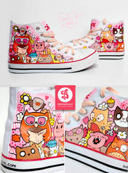 Owls and Cats Chuckz by Bobsmade
