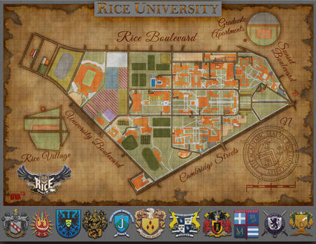 Rice University Campus Map Old Paper Style By Daevart On Deviantart