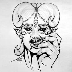Ink-Draw 17: Demon by kristinbowles