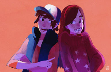 Dipper and Mabel by chuwenjie