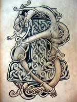 beast and hammer celtic tattoo by Tattoo-Design
