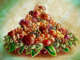 Mushroom in the basket by miminaga-motono