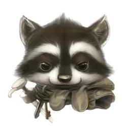 Raccoon portrait by Silverfox5213