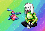 Porygon Z and Asriel by Liepard-Lia