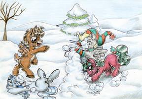 Snowball fight! by DarkCherry87