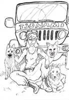 Dogs - lineart by tranki-zieleniack