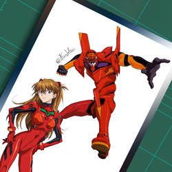Asuka and her EVA 02 by KrisLalev