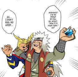 Jiraiya and All Might exchange Sake cups! by KrisLalev