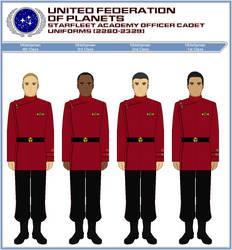 Starfleet Officer Cadet Duty Uniforms (2280-2329) by ATXCowboy