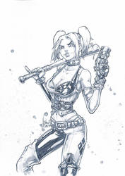 Harley quinn arkham city pencil by Vinz-el-Tabanas